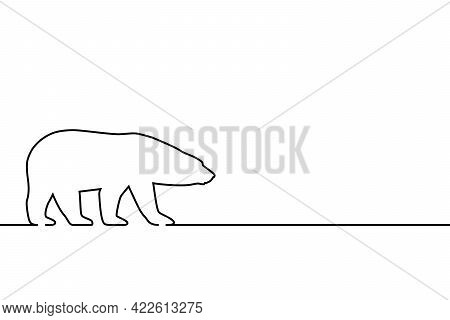Polar Bear Graphic Outline Icon. Arctic Bear Sign Isolated On White Background. Wildlife Line Symbol