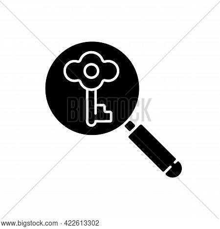 Looking For Key Black Glyph Icon. Investigating To Solve Problem. Searching For Tips. Clues For Ridd