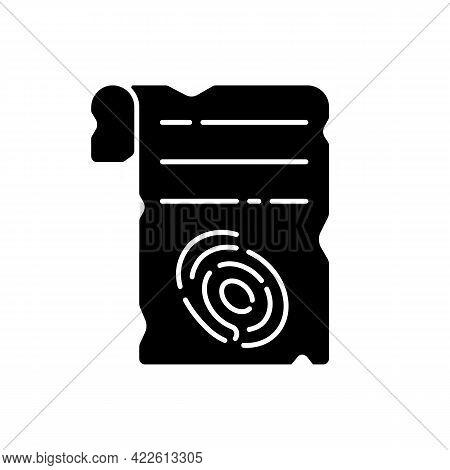 Fingerprints On Piece Of Paper Black Glyph Icon. Criminal Investigation. Vintage Parchment. Clues Fo