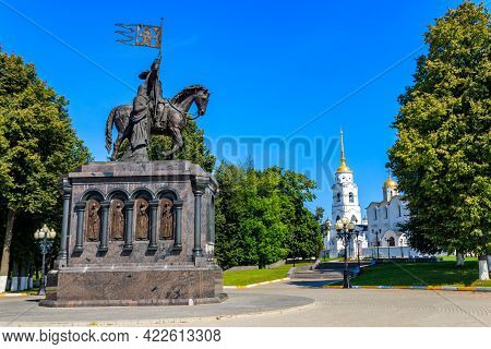 Monument To Founder Of Vladimir City Prince Vladimir The Red Sun And Sanctifier Feodor On The Viewin