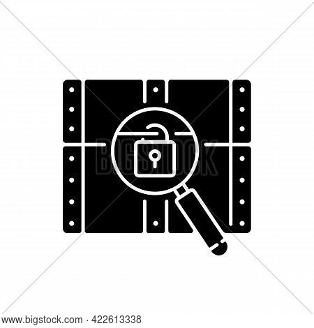 Chest With Lock Black Glyph Icon. Search For Pirate Treasure. Open Casket. Solving Puzzles, Clues Fo