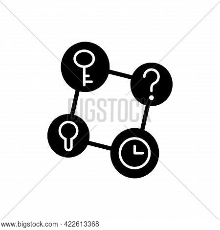 Connecting Facts Black Glyph Icon. Mind Game. Analyze Question. Solving Puzzles, Clues For Riddles.
