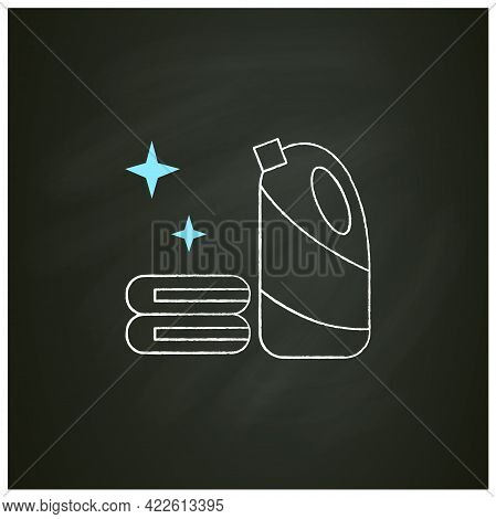 Bleach Chalk Icon.household Chemical Bottle With Laundry Pile.clothes Washing, Disinfection, House C