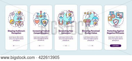 Strong Brand Benefits Onboarding Mobile App Page Screen With Concepts. Shaping Audience Perception W