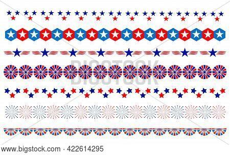 American Abstract Flag Symbols Decorative Border Divider Set.