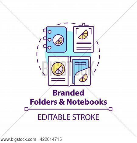 Branded Folders And Notebooks Concept Icon. Corporate Branding Material Abstract Idea Thin Line Illu