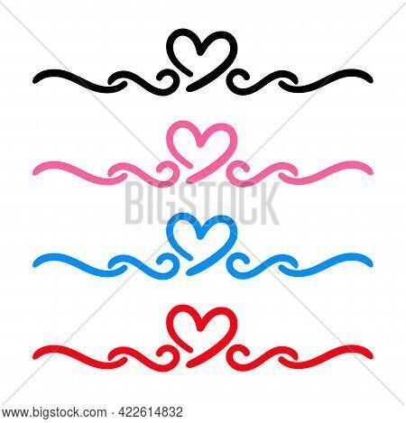 Heart Shape Cute In A Doodle Art Line, Hand Drawn Heart With Line Shape, Scribble Heart Line Shape,