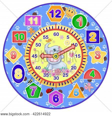 Cute Baby Elephant On The Watch Face. Adorable Cartoon Animals. Dial For Alarm Clock, Table, Wall Cl