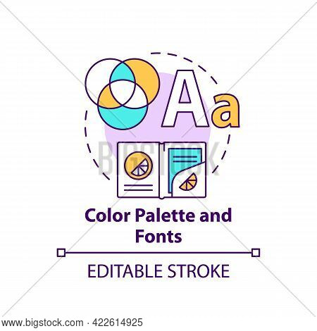 Color Palette And Fonts Concept Icon. Business Branding Abstract Idea Thin Line Illustration. Produc