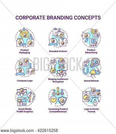Corporate Branding Concept Icons Set. Increasing Product Competitiveness Idea Thin Line Color Illust