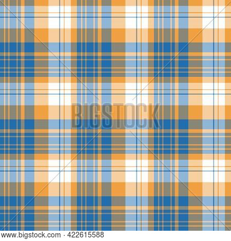 Seamless Pattern In Blue, Orange And White Colors For Plaid, Fabric, Textile, Clothes, Tablecloth An
