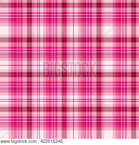 Seamless Pattern In Pink Colors For Plaid, Fabric, Textile, Clothes, Tablecloth And Other Things. Ve