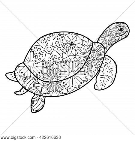 Zentangle Stylized Turtle. Animals. Hand Drawn Doodle. Ethnic Patterned Illustration. African, India