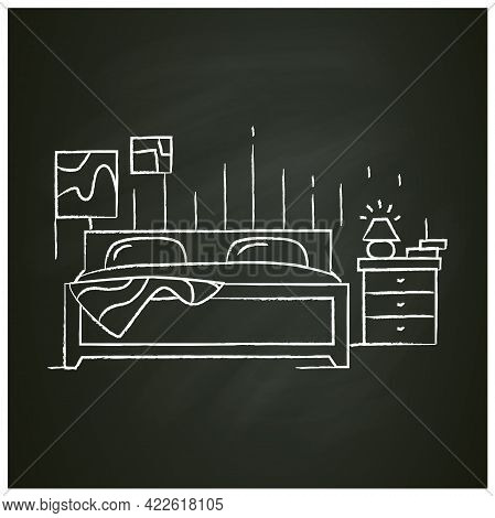 Bedroom Interior Chalk Icon. Double Bed And Nightstand In Sleeping Room. Comfortable Bedding And Fur