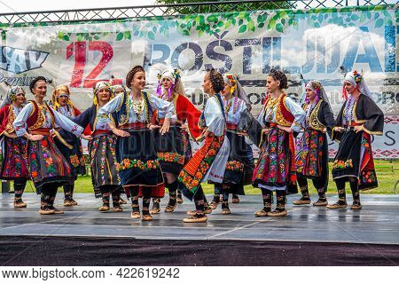 29 May 2021, Belgrade, Serbia, 12th  Barbeque Festival On Ada Lake And Famous Folk Dancers Groups Wh
