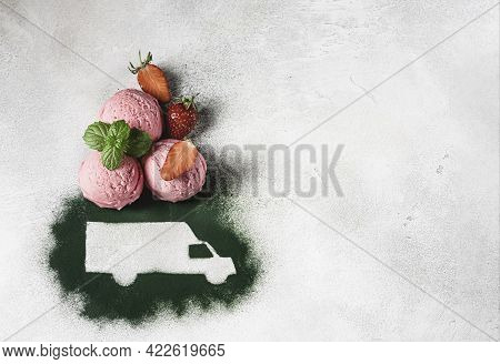 Car Made Of Green Powder And Balls Of Berry Ice Cream On A Light Background. Online Shopping. Concep