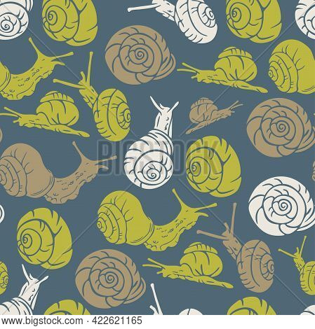 Vector Seamless Pattern With Silhouettes Of Crawling Snails. Design With Bright Green Snails On Neut