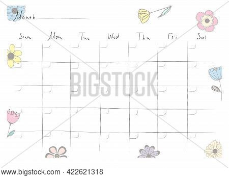 Printable A4 Paper Sheet With Monthly Planner Blank To Fill On Background With Hand Drawn Flowers. M