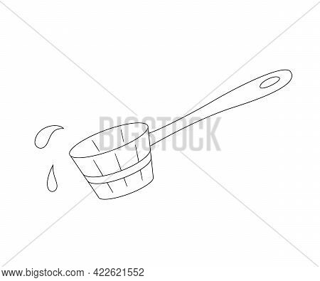 Wooden Scoop For Water And Use In A Sauna Or Steam Room. Contour Black And White Isolated Illustrati