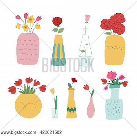 Large Set Of Flower Vases. Idly Filled Bouquets Or Single Flowers. Colored Isolated Illustration In