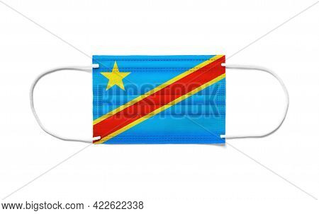 Flag Of Democratic Republic Of The Congo On A Disposable Surgical Mask. White Background Isolated