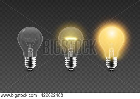 Vector 3d Realistic Glowing, Turned Off Electric Light Bulb Icon Set Isolated On Transparent Backgro