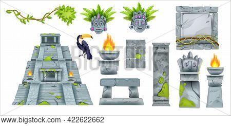 Aztec Maya Ancient Culture Set, Vector Cartoon Totem Tribal Elements, Ancient Pyramid, Stone Sign Bo