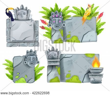 Stone Sign Board Set, Vector Game Ui Boulder Panel Collection, Totem Faces, Toucan, Fire, Moss. Jung