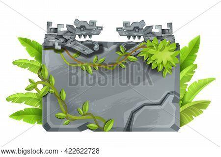 Maya Stone Sign Board, Game Cartoon Vector Rock Jungle Background, Boulder Panel, Aztec Dragon, Vine
