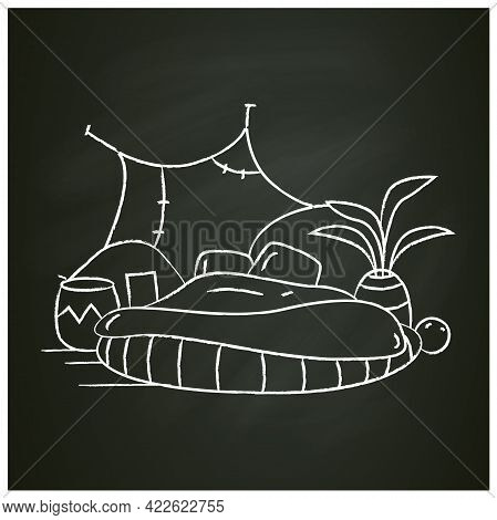 Blanket House Chalk Icon.cozy Bedroom With Comfortable Bed Mattress And Domestic Plant. Modern Bed R