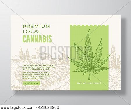 Premium Local Cannabis Label Template. Abstract Vector Packaging Design Layout. Modern Typography Ba