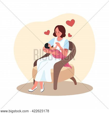 Mother And Newborn In Chair 2d Vector Isolated Illustration. Parent With Baby. Happy Mom With Infant