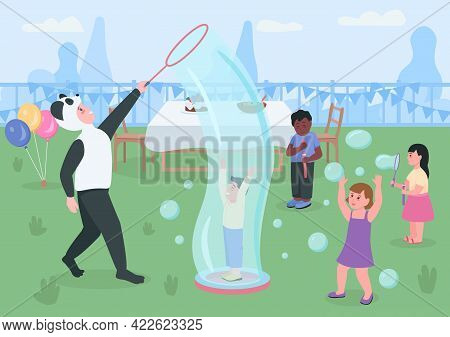 Kids Birthday In The Backyard Flat Color Vector Illustration. Children Playing And Blowing Soap Bubb
