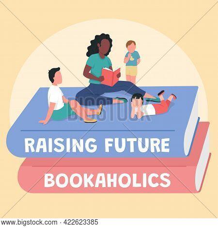 Teacher With Children Social Media Post Mockup. Raise Future Bookaholics Phrase. Web Banner Design T