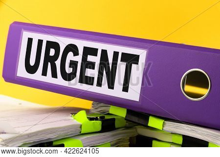 Urgent, Situation Needed, Imperative Important Concept. Purple Folder With The Words Urgent.