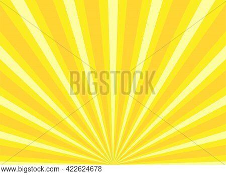 Sunlight Rays Horizontal Background. Yellow And White Color Burst Horizontal Background. Vector Illu