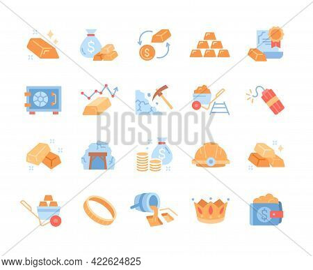 Set Of Gold Icons. Quality Control, Mine, Dynamite, Safe Deposit, Bag Of Gold. Collection Of Colored