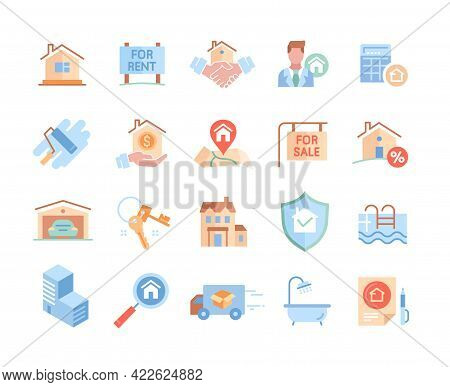Set Of Real Estate Icons. Realty, Keys, Garage, Deal, Agreement, Home Loan, Property, Mortgage, Swim