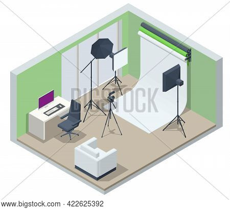 Isometric Video Blogger Recording Video With Camera. Equipment For Making Video For Blog, Vlog Revie