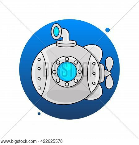 Vector Illustration Of Cartoon Yellow And Red Submarine Isolated