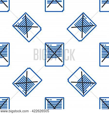 Line Exam Paper With Incorrect Answers Survey Icon Isolated Seamless Pattern On White Background. Ba