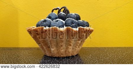 Shortcrust Pastry Tart With Large Fresh Blueberries Sprinkled With Powdered Sugar