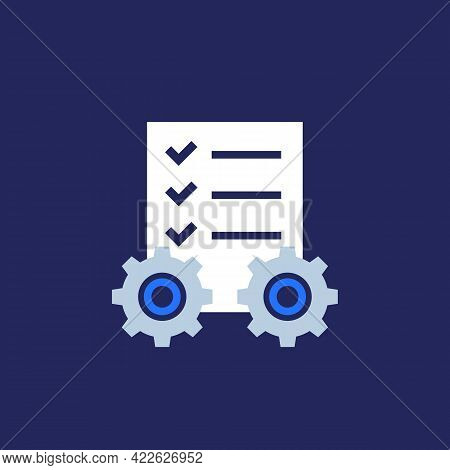 Project Management Gears And Checklist Vector Icon