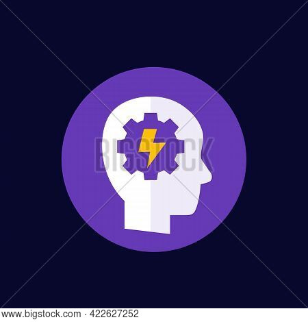 Ability Icon With Head And Gear, Vector