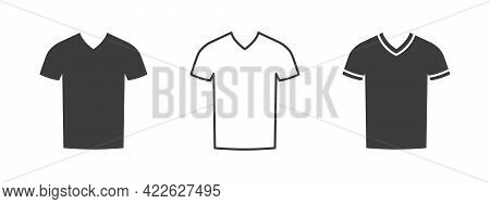 T-shirts Icon. V-neck T-shirt. Clothes Icons Modern Style. Vector Illustration
