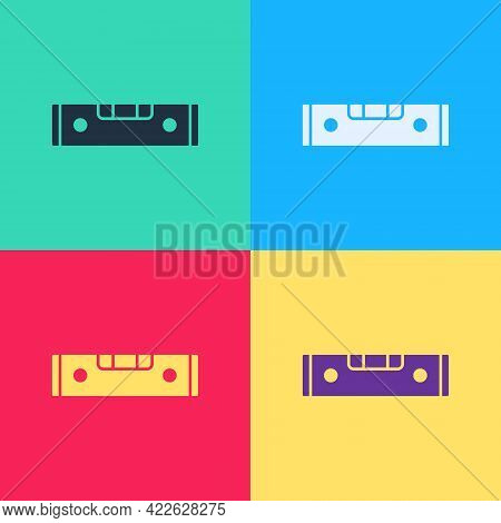 Pop Art Construction Bubble Level Icon Isolated On Color Background. Waterpas, Measuring Instrument,