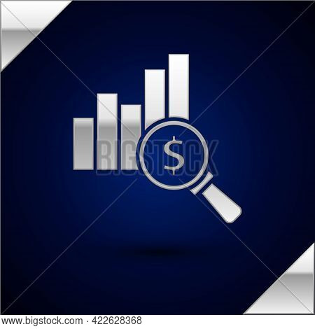 Silver Pie Chart Infographic And Dollar Symbol Icon Isolated On Dark Blue Background. Diagram Chart
