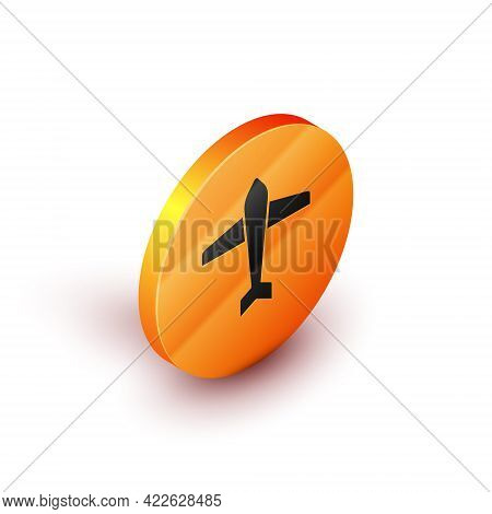 Isometric Jet Fighter Icon Isolated On White Background. Military Aircraft. Orange Circle Button. Ve