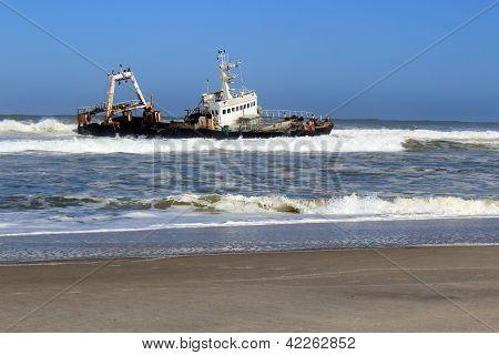 Shipwreck On A Beach, Skeleton Coast