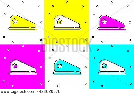 Set Military Beret Icon Isolated On Color Background. Soldiers Cap. Army Hat. War Baret. Vector